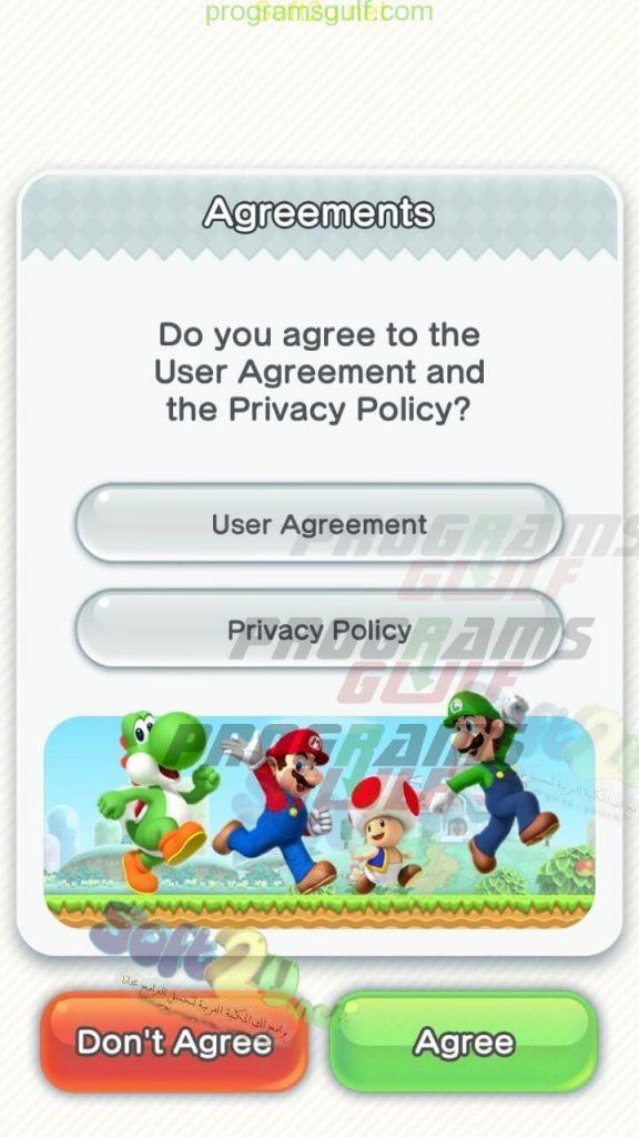 سوبر ماريو رن Super Mario Run  الموافقة على سياسات اللعبة