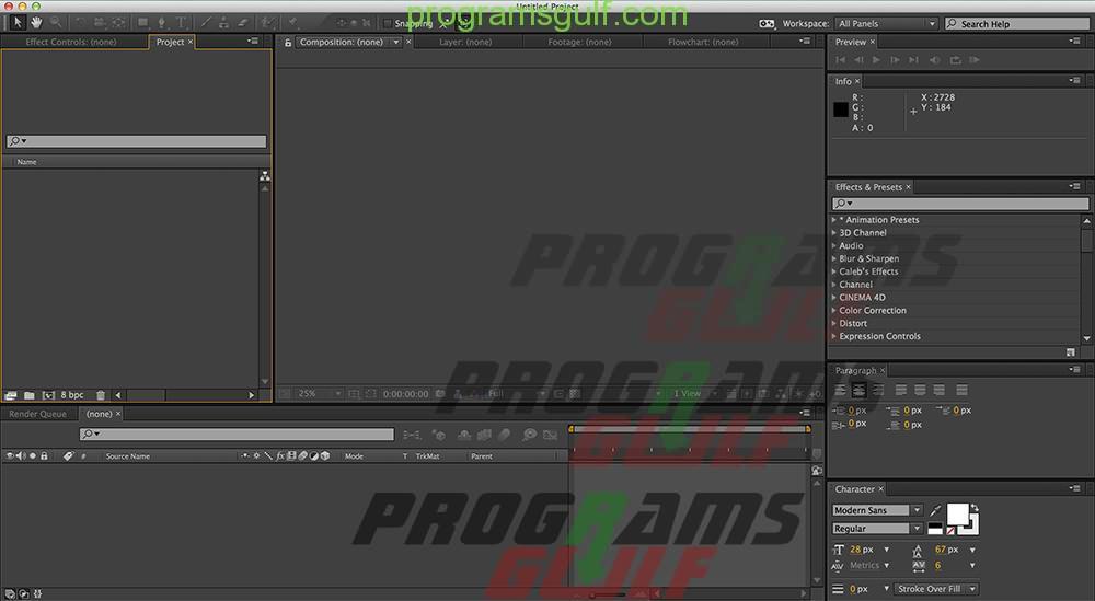 واجهة برنامج Adobe After-Effects