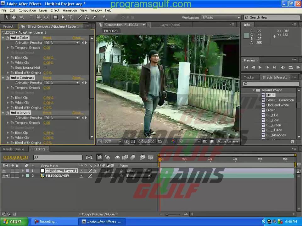 العمل على برنامج Adobe After-Effects