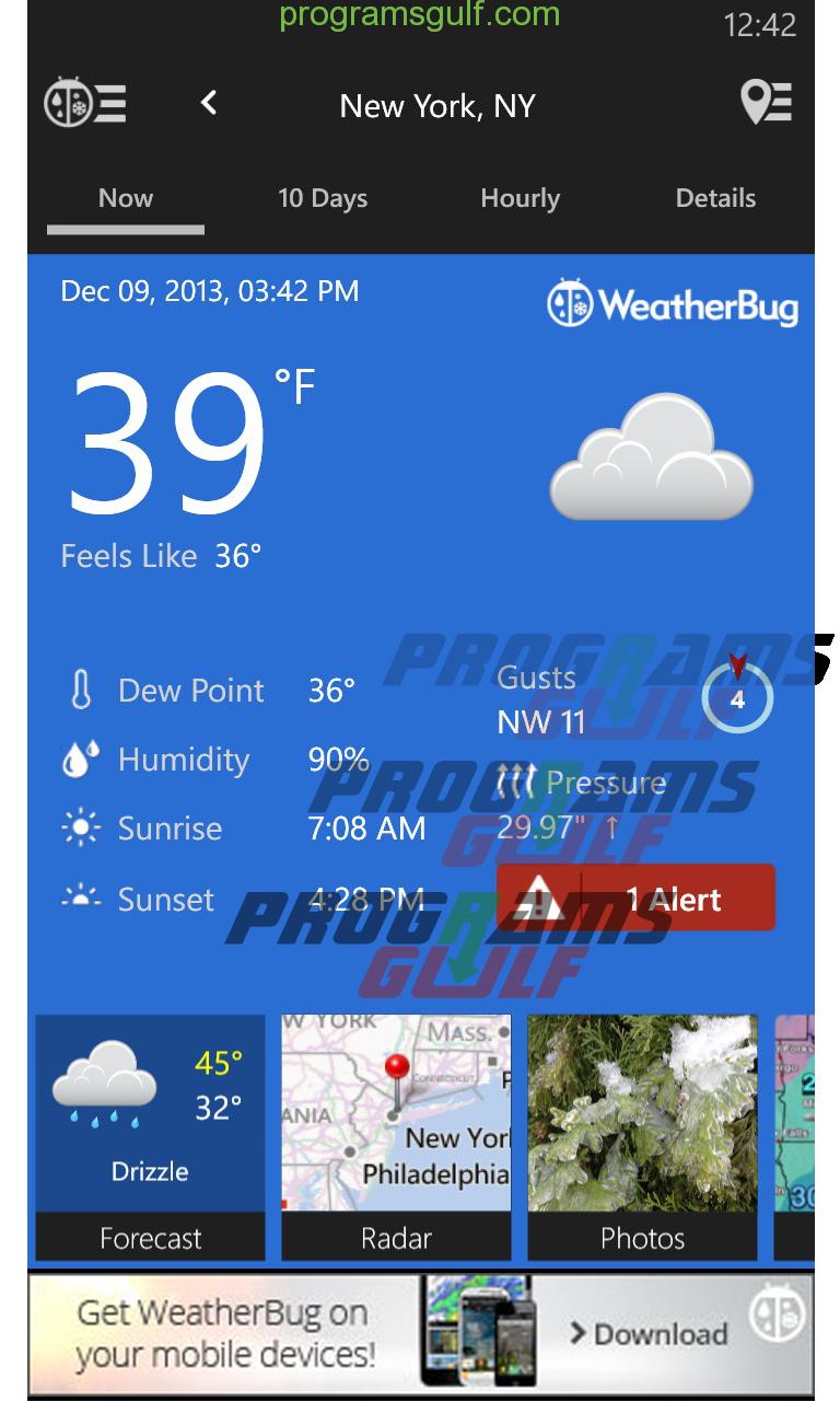 تحميل تطبيق Weatherbug لقياس حالة الطقس