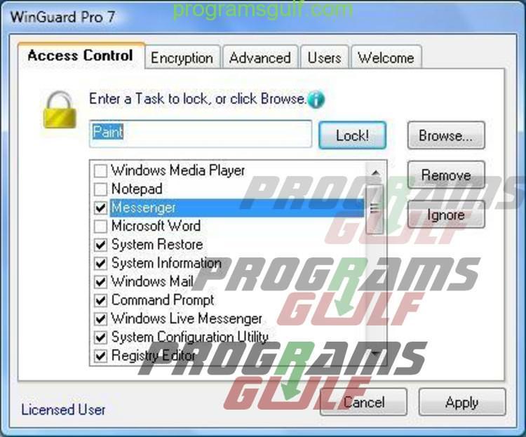 تطبيق WinGuard Pro لحماية وتشفير التطبيقات والملفات بتحديد كلمة سر