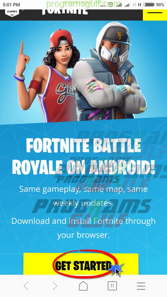 الدخول لصفحة الموقع لتحميل لعبة Fortnite