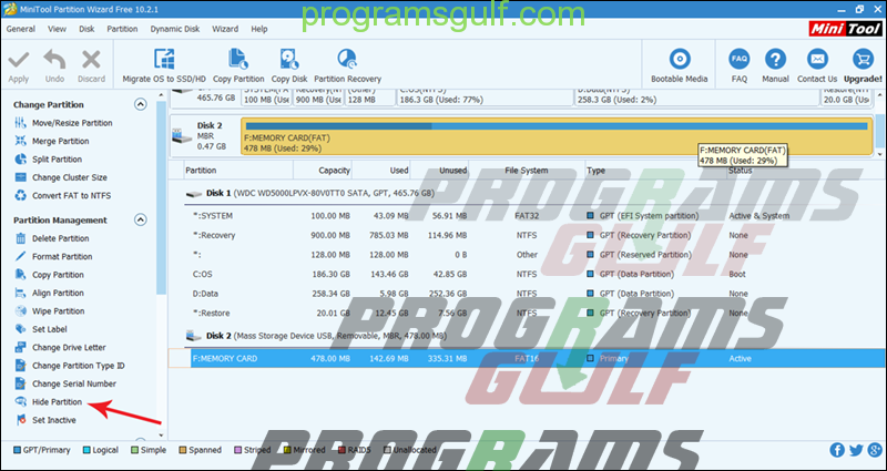 برنامج MiniTool Partition Wizard