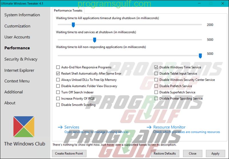 برنامج Ultimate Windows Tweaker 4
