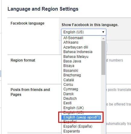 تحويل كل النص في الفيسبوك رأسا على عقب: